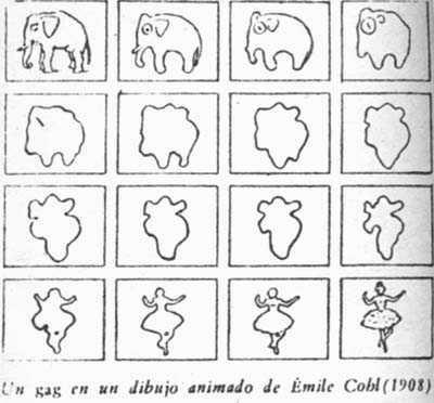 Un gag en un dibujo animado de Emile Cohl